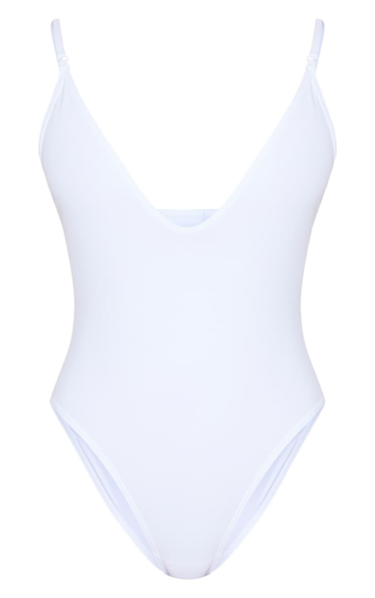 White Basic Low Scoop Swimsuit 3