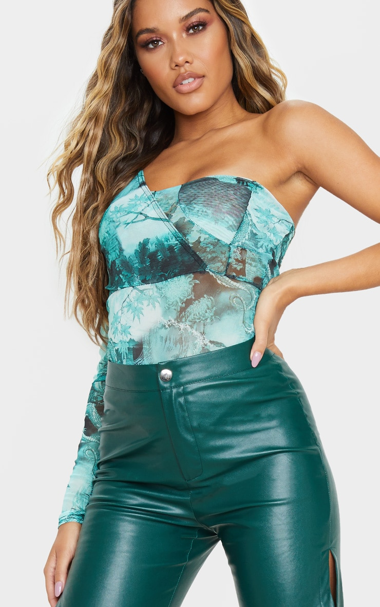 Green Emerald Dragon Sheer Printed Mesh One Shoulder Bodysuit 6