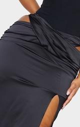 Plus Black Cross Front Satin Split Maxi Skirt 4