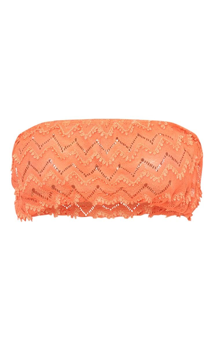 Coral Beachwear Crochet Detail Bandeau Crop Top  3