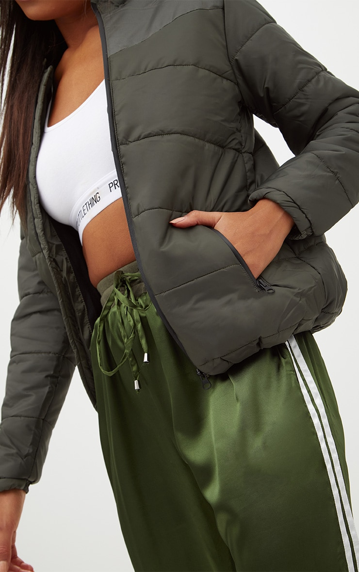 Khaki Hooded Puffer Jacket 5