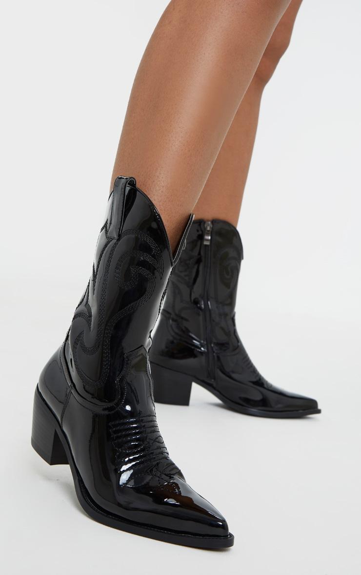 Black Patent Stitch Detail Western Calf Boot 1