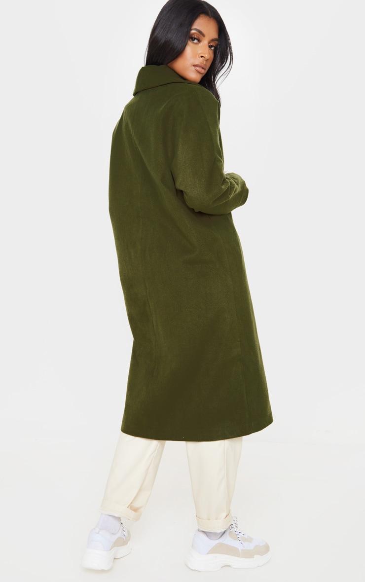 Khaki Boyfriend Oversized Midi Coat 2