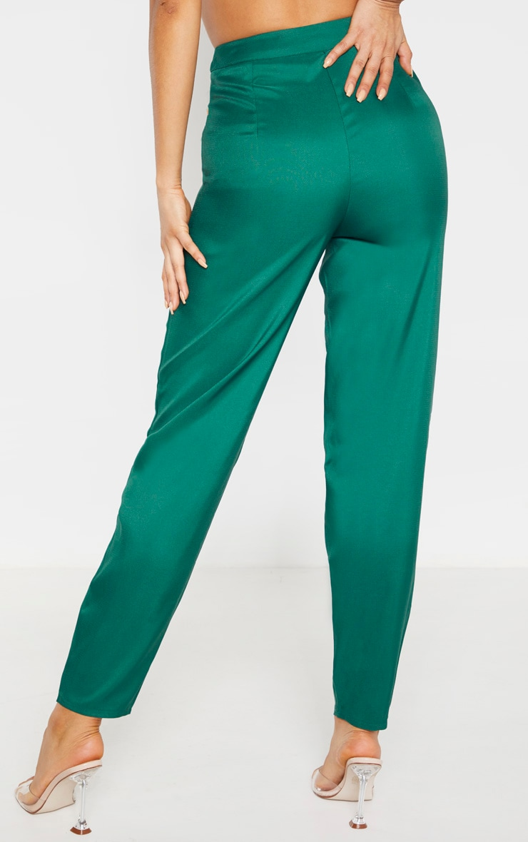 Tall Emerald Green Wide Leg Slim Cuff Suit Trousers 3