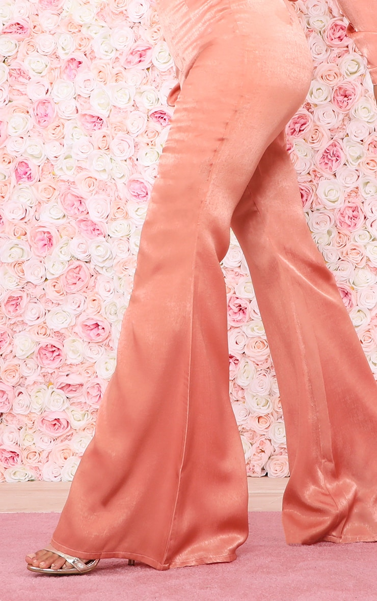 Peach Satin High Waisted Flare Leg Pants 5