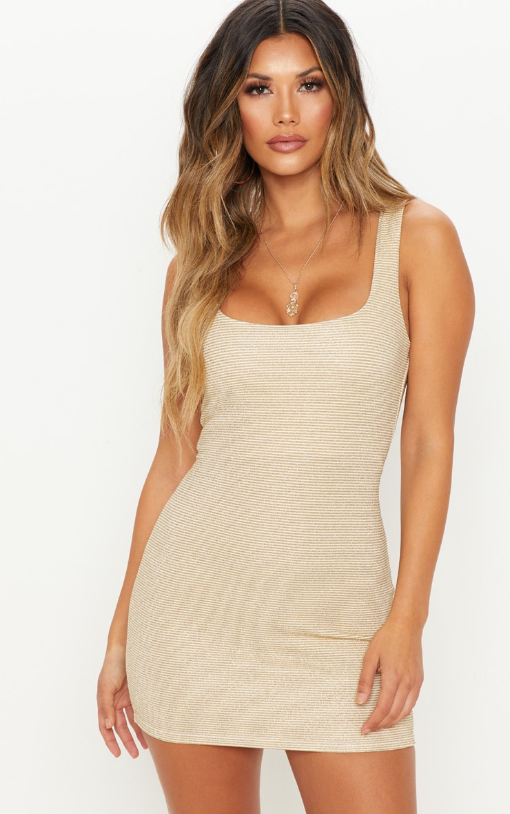Gold Metallic Rib Bodycon Dress 1