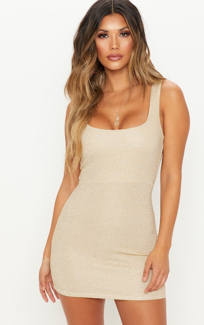 2ef406280e Gold Metallic Rib Bodycon Dress