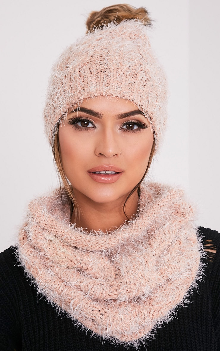 Two Pack Blush Knitted Beanie and Snood 1