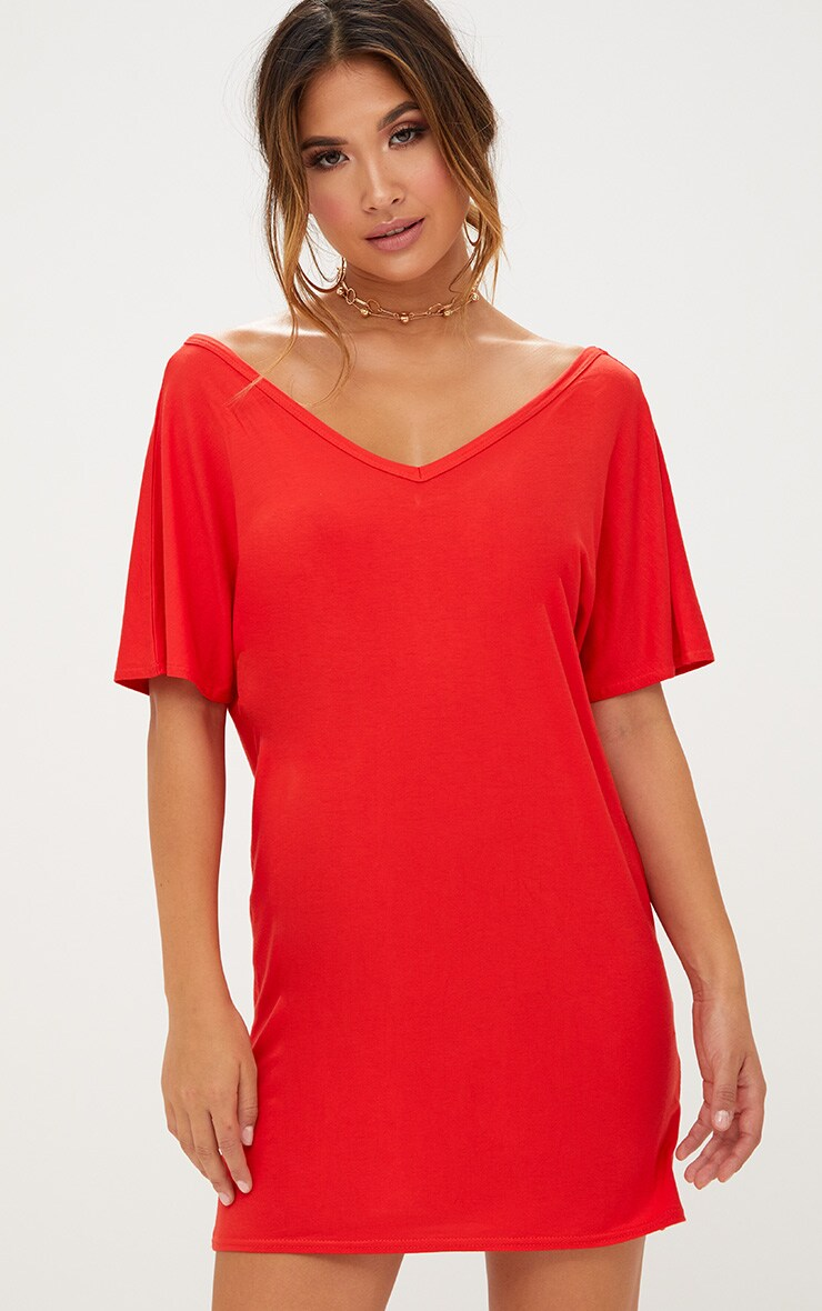 Basic Orange V Neck T Shirt Dress 1