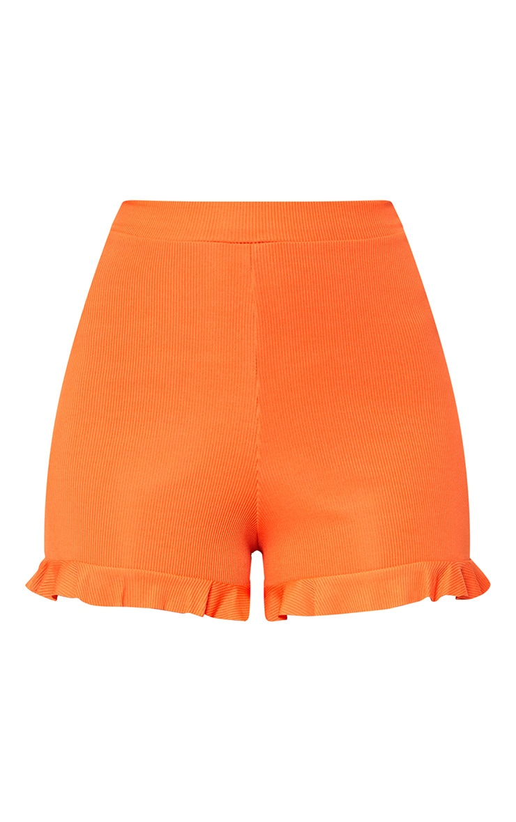 Orange Frill Hem Shorts  3