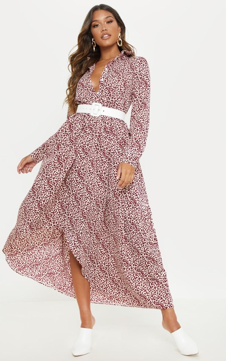 e1845c0f2134 Red Leopard Print Maxi Shirt Dress | PrettyLittleThing