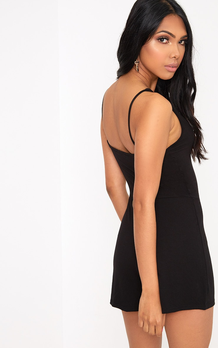 Black Jersey Harness Playsuit  2