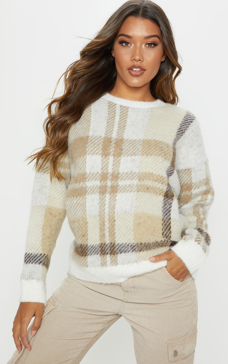 Cream Oversized Brushed Checked Jumper