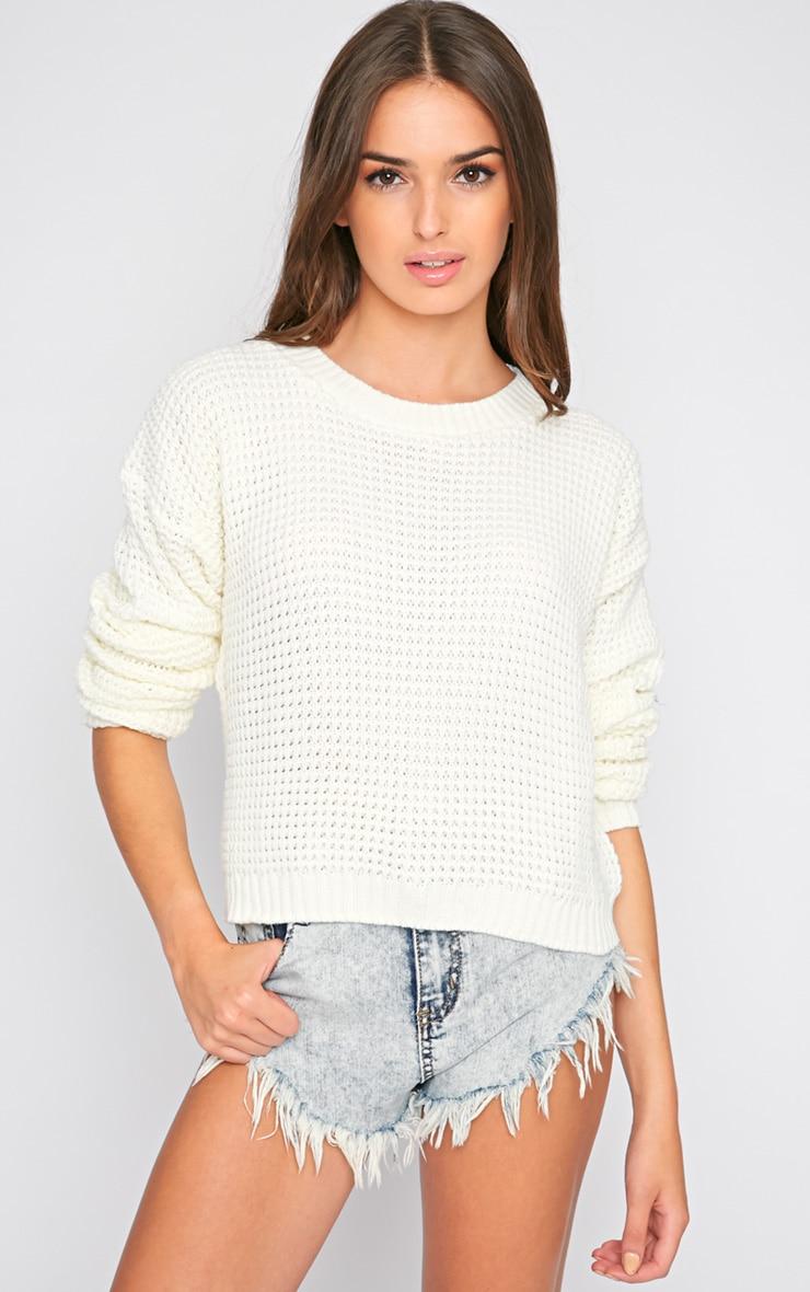 Evie Cream Fisherman Knit Sweater  1