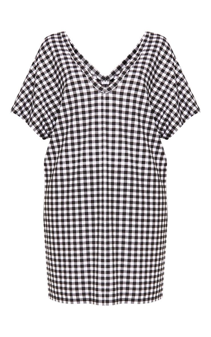 Sindiqa Black Gingham Plunge V Neck T Shirt Dress 3