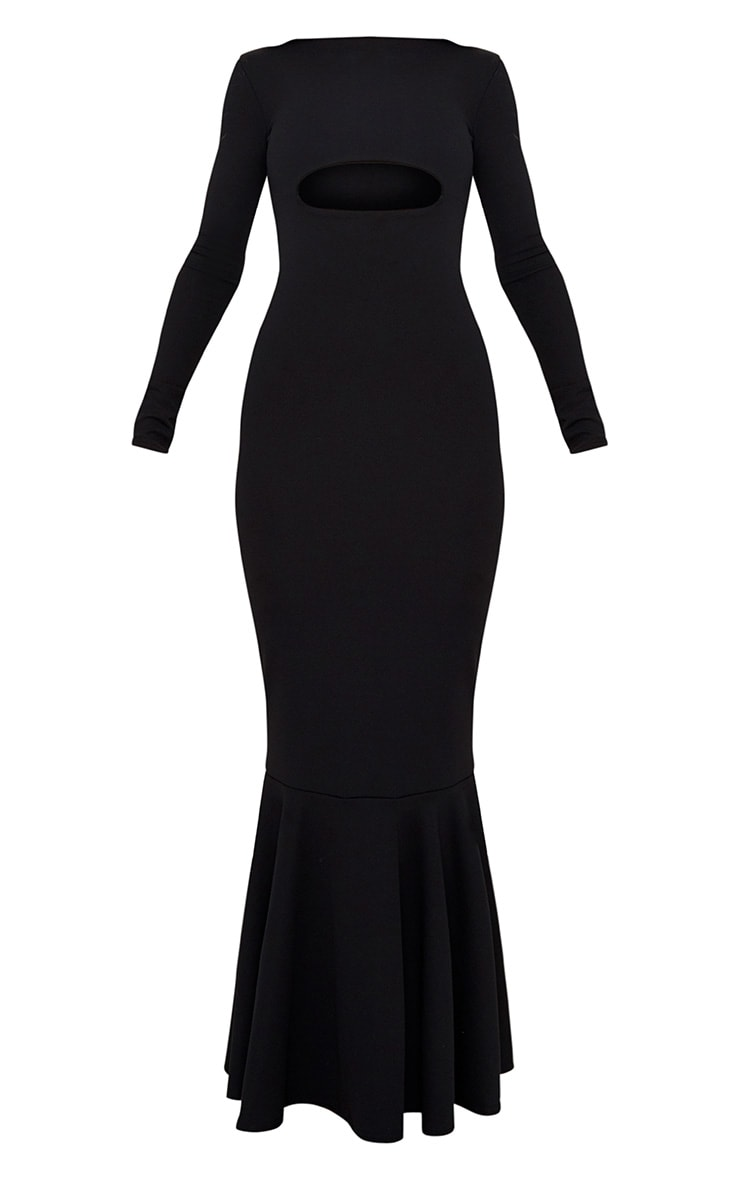 Black Cut Out Detail Long Sleeve Fishtail Maxi Dress 3
