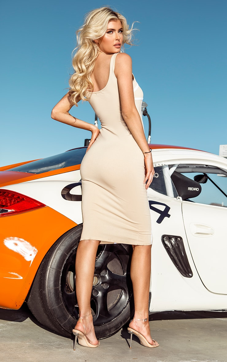 PRETTYLITTLETHING Tall Nude Binding Detail Strappy Midi Dress 2