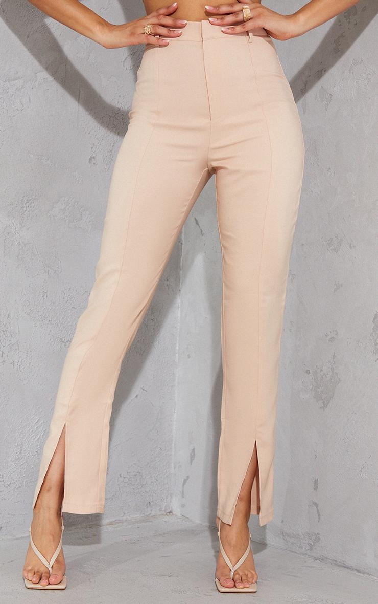 Nude High Waisted Straight Leg Split Hem Trousers 2