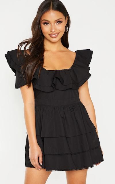 Petite Black Square Neck Tiered Frill Dress