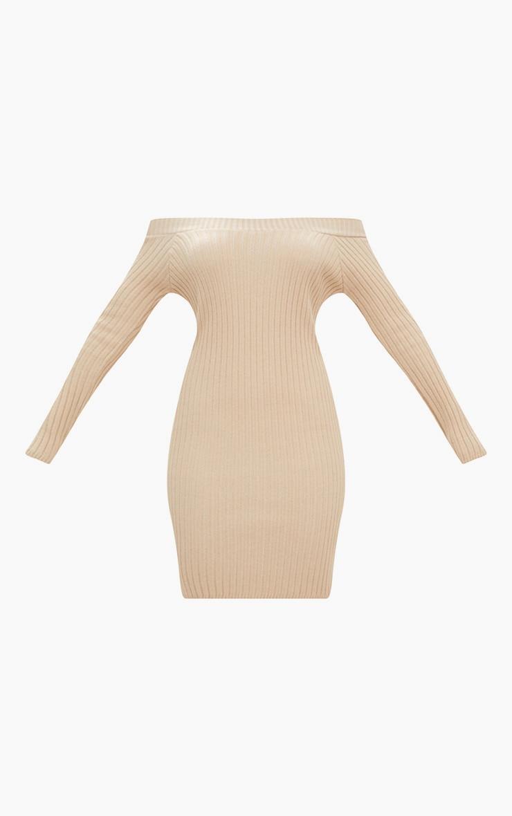 Stone Knit Bardot Mini Jumper Dress 3
