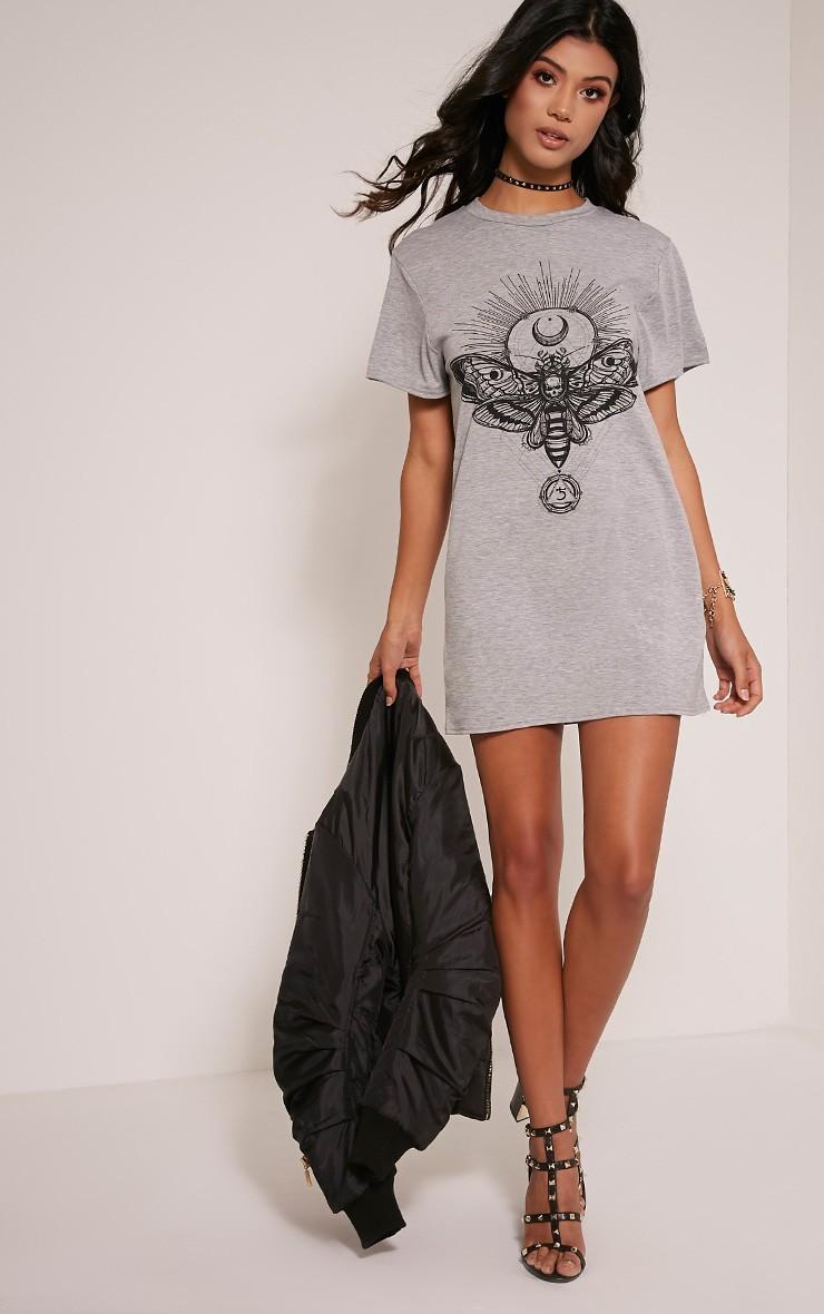 Moth robe t-shirt gris chiné à imprimé crâne 5
