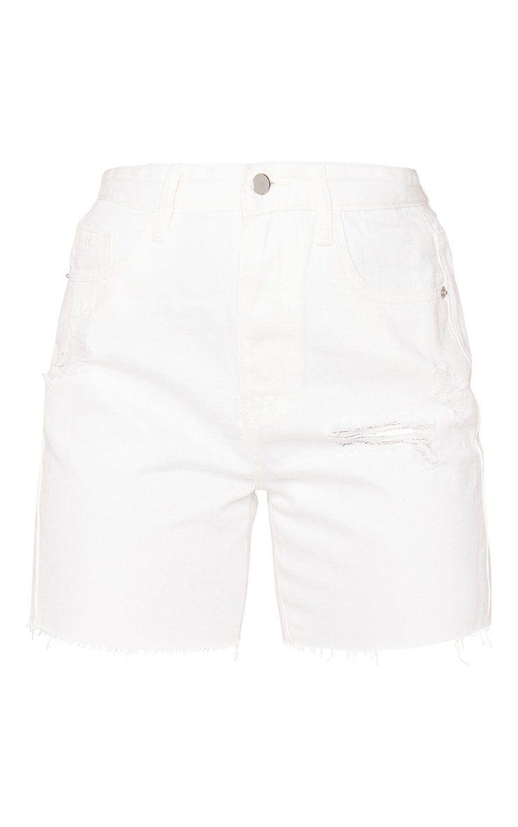 PRETTYLITTLETHING White Ripped Longline Fitted Denim Shorts 6