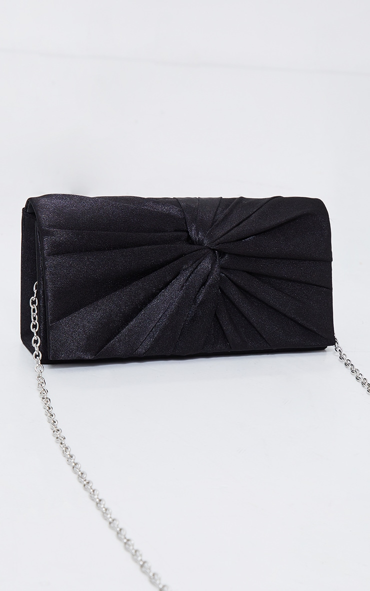 Black Satin Ruched Knot Clutch 2