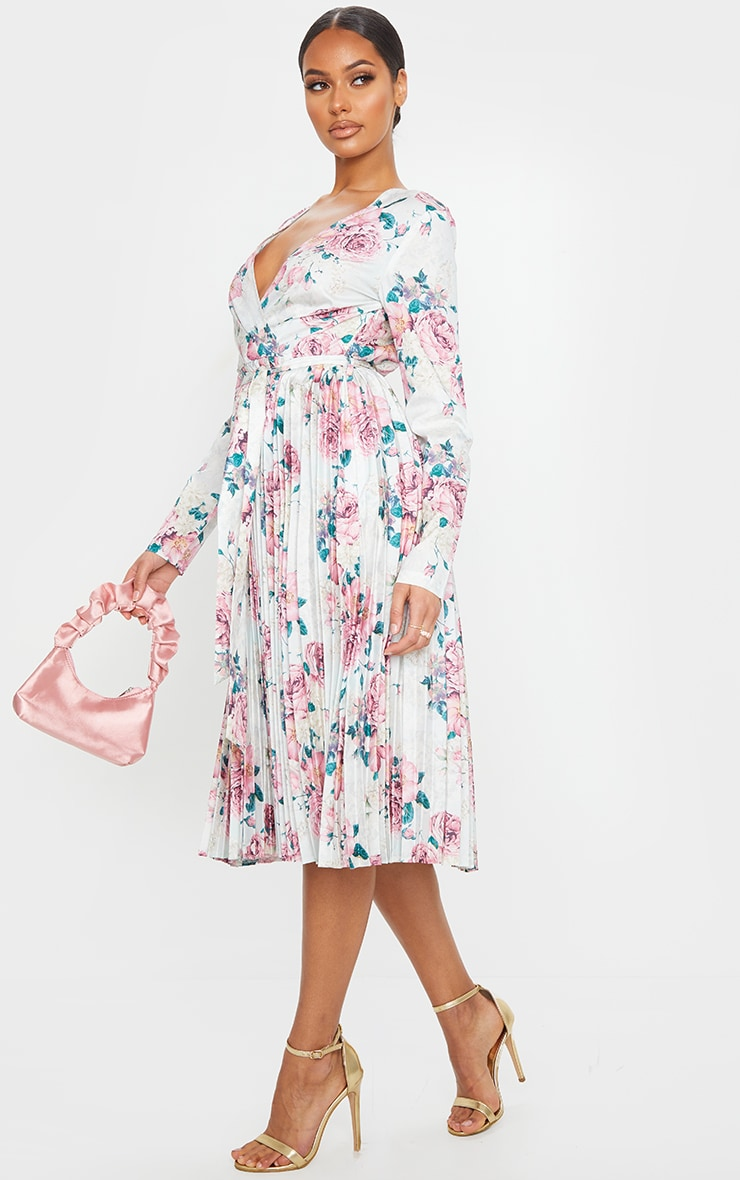 White Floral Print Long Sleeve Pleated Midi Dress 3