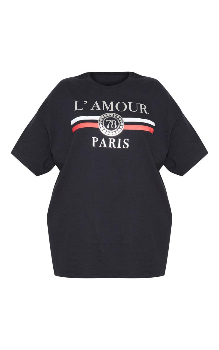 Plus Black Lamour Slogan Foil Print T Shirt 3