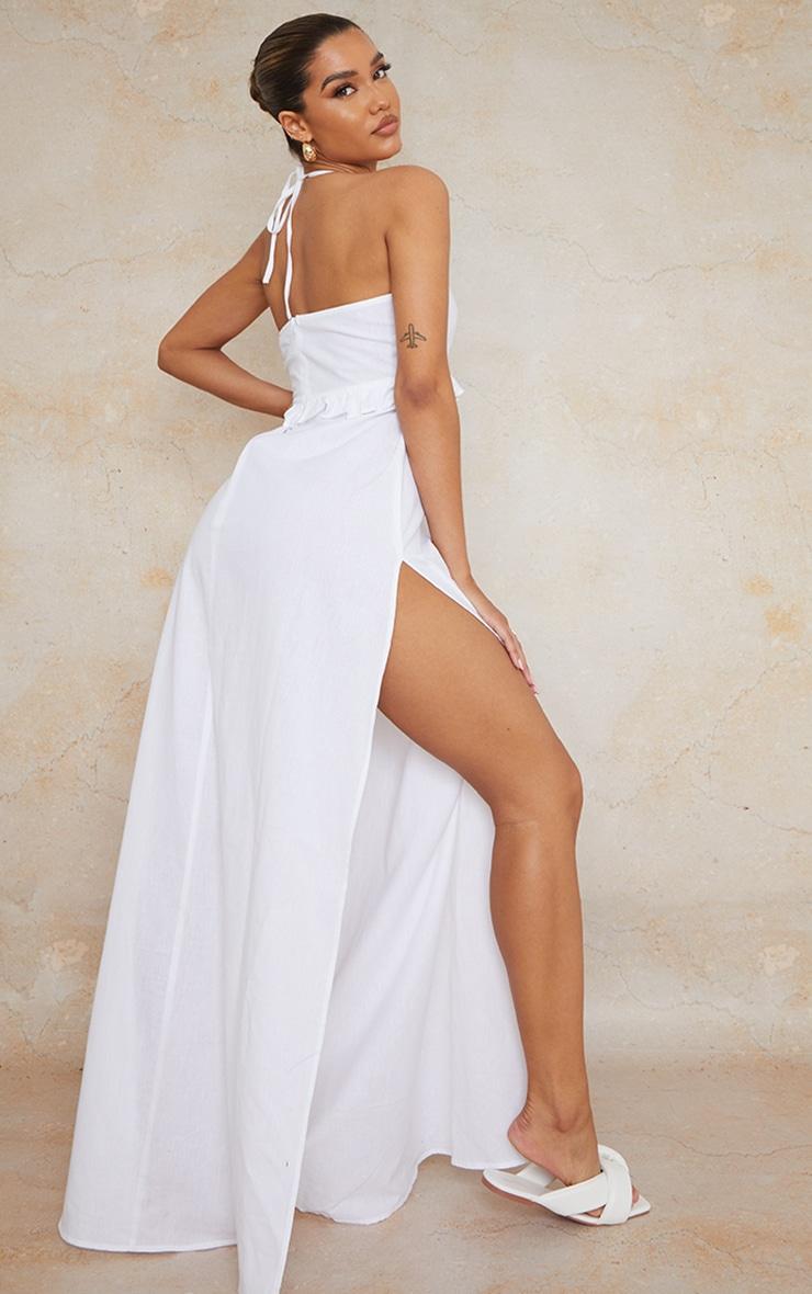 White Linen Underbust Frill Halterneck Maxi Dress 1