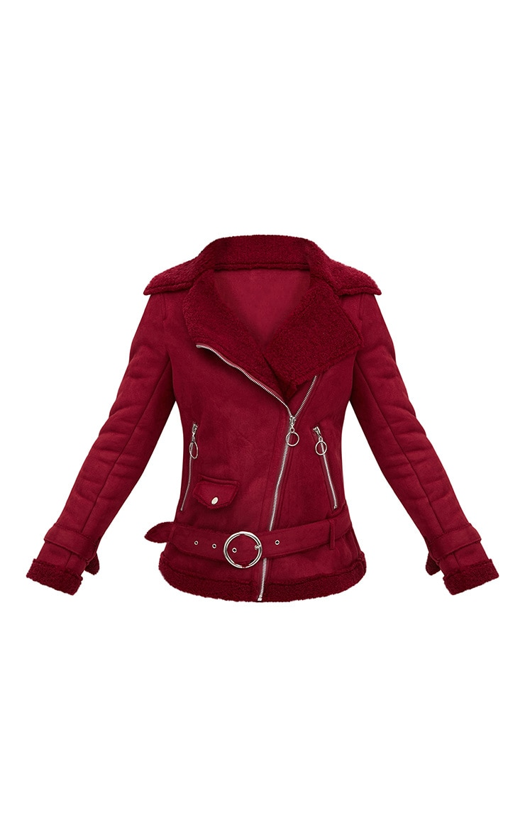 Burgundy Ring Pull Faux Suede Aviator Coat 3