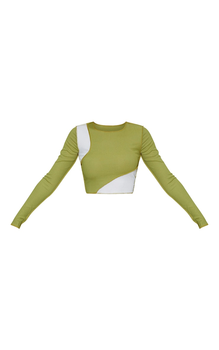 Olive Rib Overlock Detail Panel Long Sleeve Crop Top 5