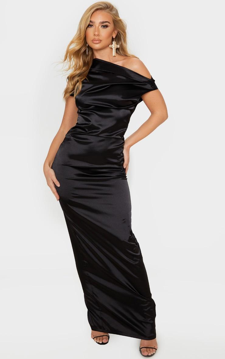 Black Off Shoulder Pleat Detail Satin Maxi Dress