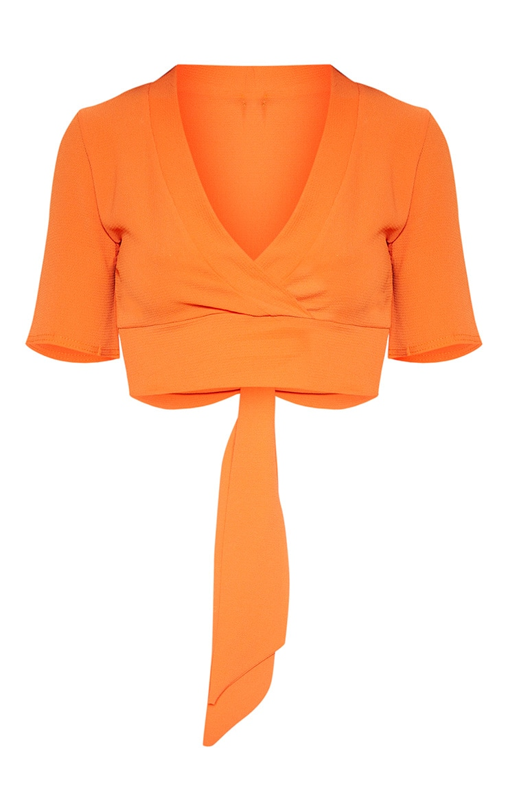 Orange Tie Back Crop Short Sleeve Blouse 3