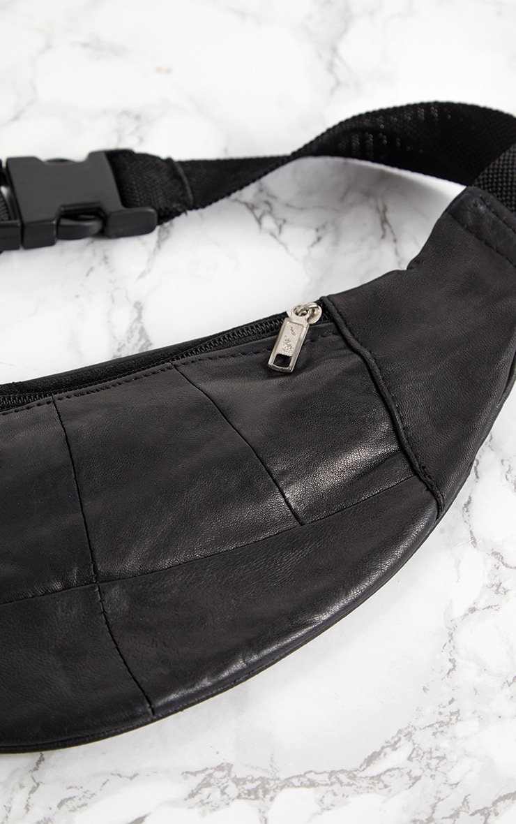 Black Leather Double Zip Bum Bag 4