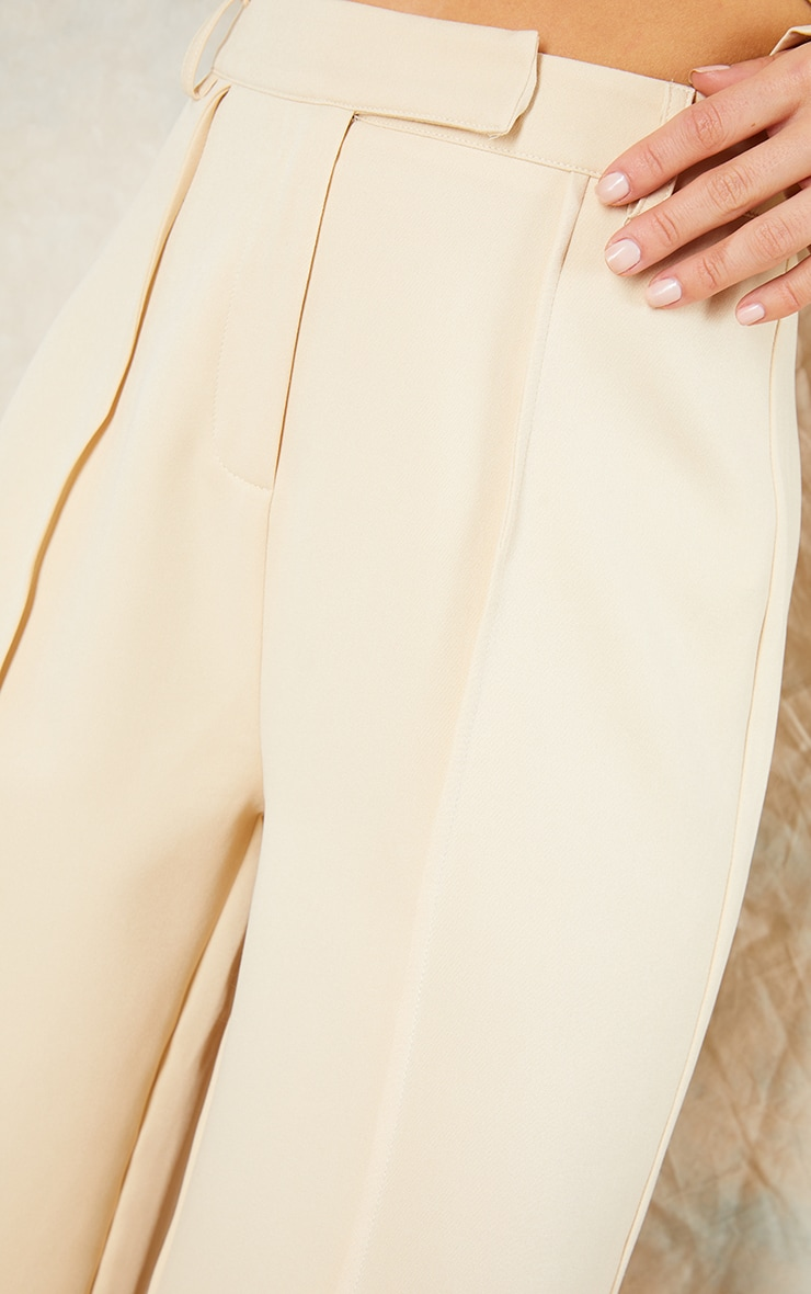 Stone Woven Seam Front Tailored Wide Leg Pants 4
