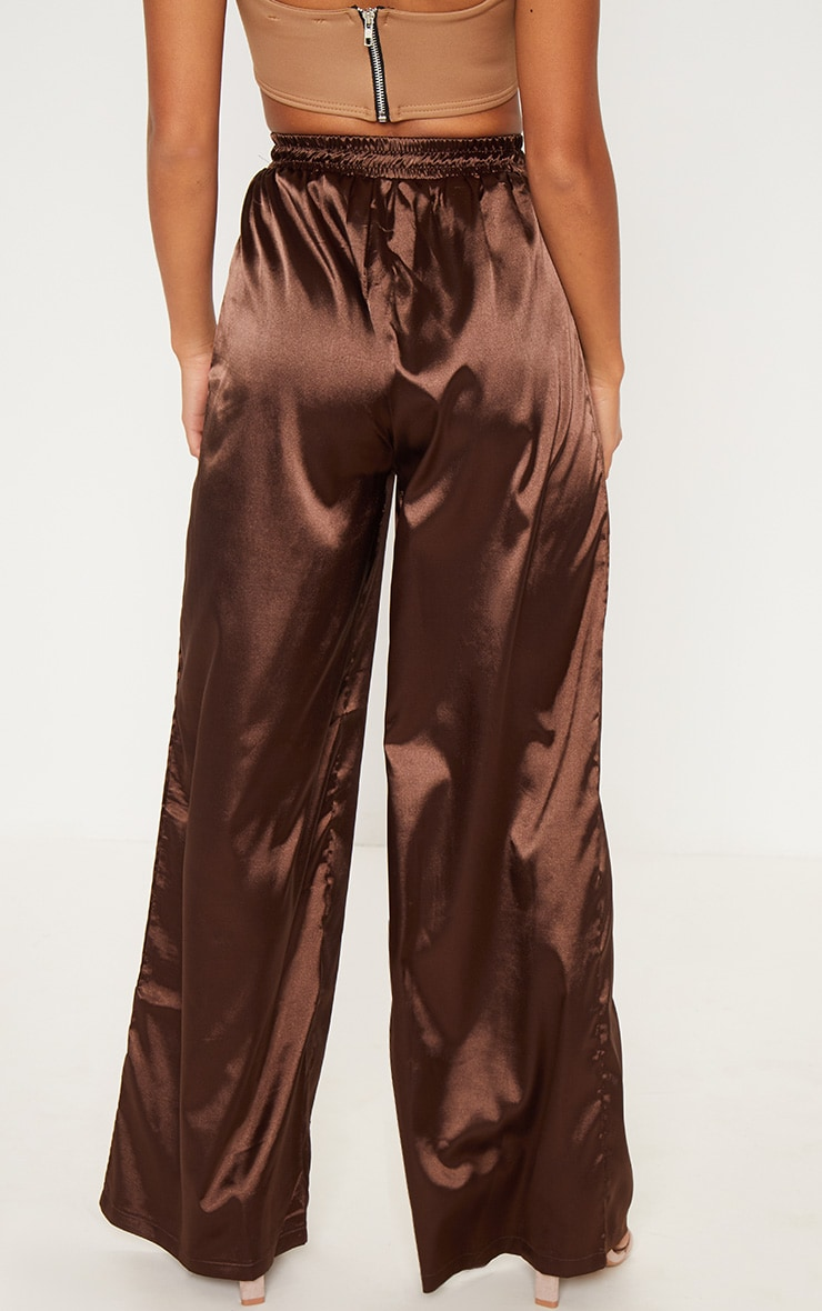 Petite Chocolate Brown Satin Tie Waist Wide Leg Trousers 4
