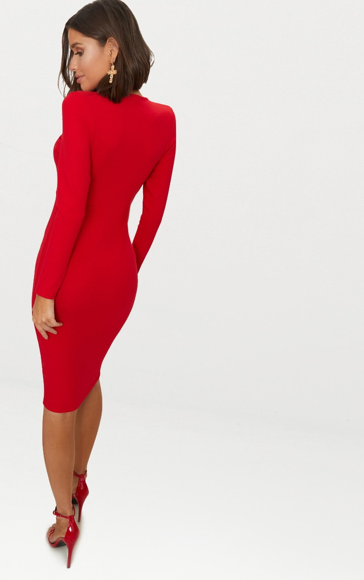 Red Cut Out Detail Midi Dress 2