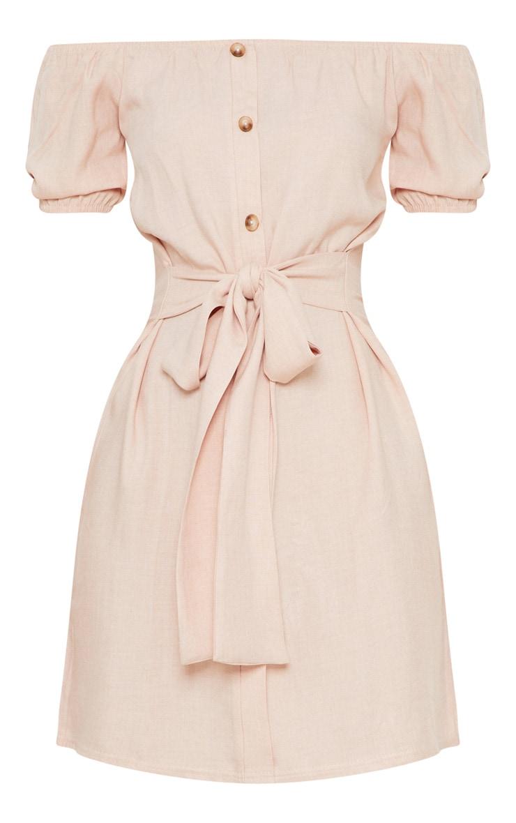Dusty Pink Bardot Tortoise Shell Button Tie Waist Shift Dress 3