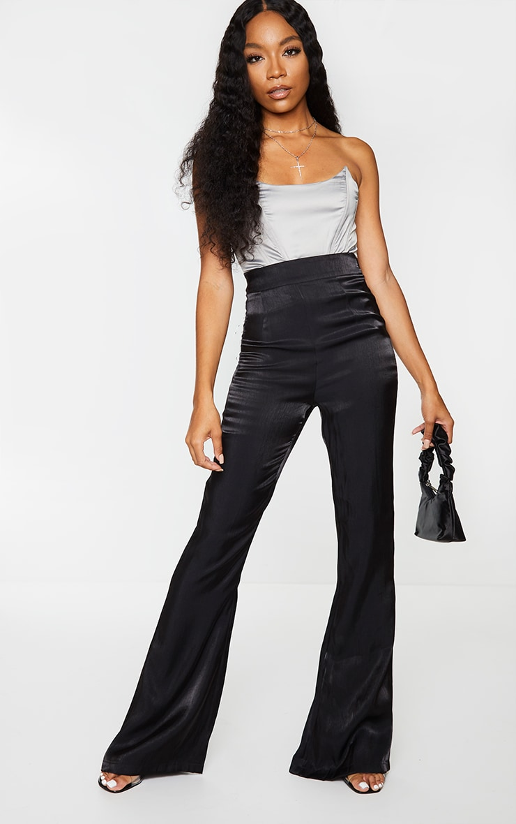 Black Iridescent Flared Pants 1