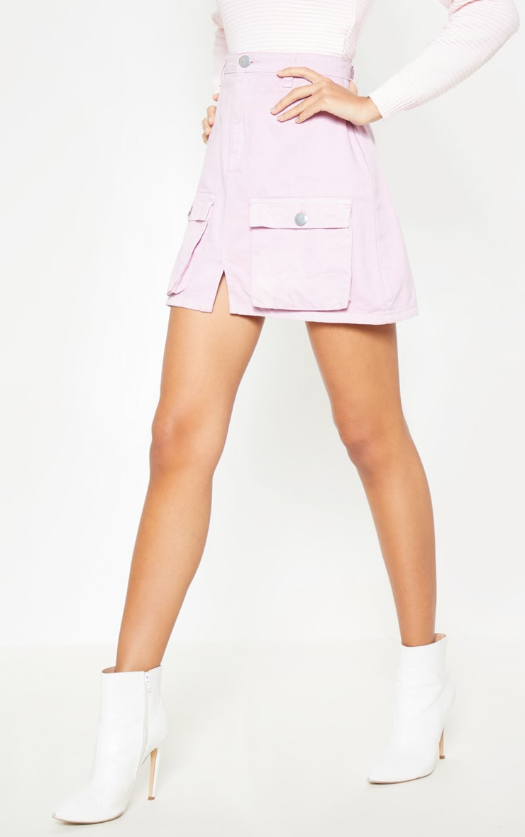 Lilac Neon Pocket Detail Denim Skirt  2