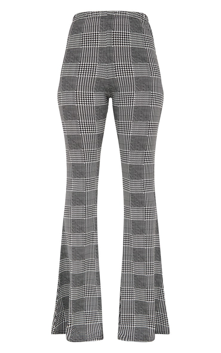 Grey Dogtooth Check Flared Trousers 3