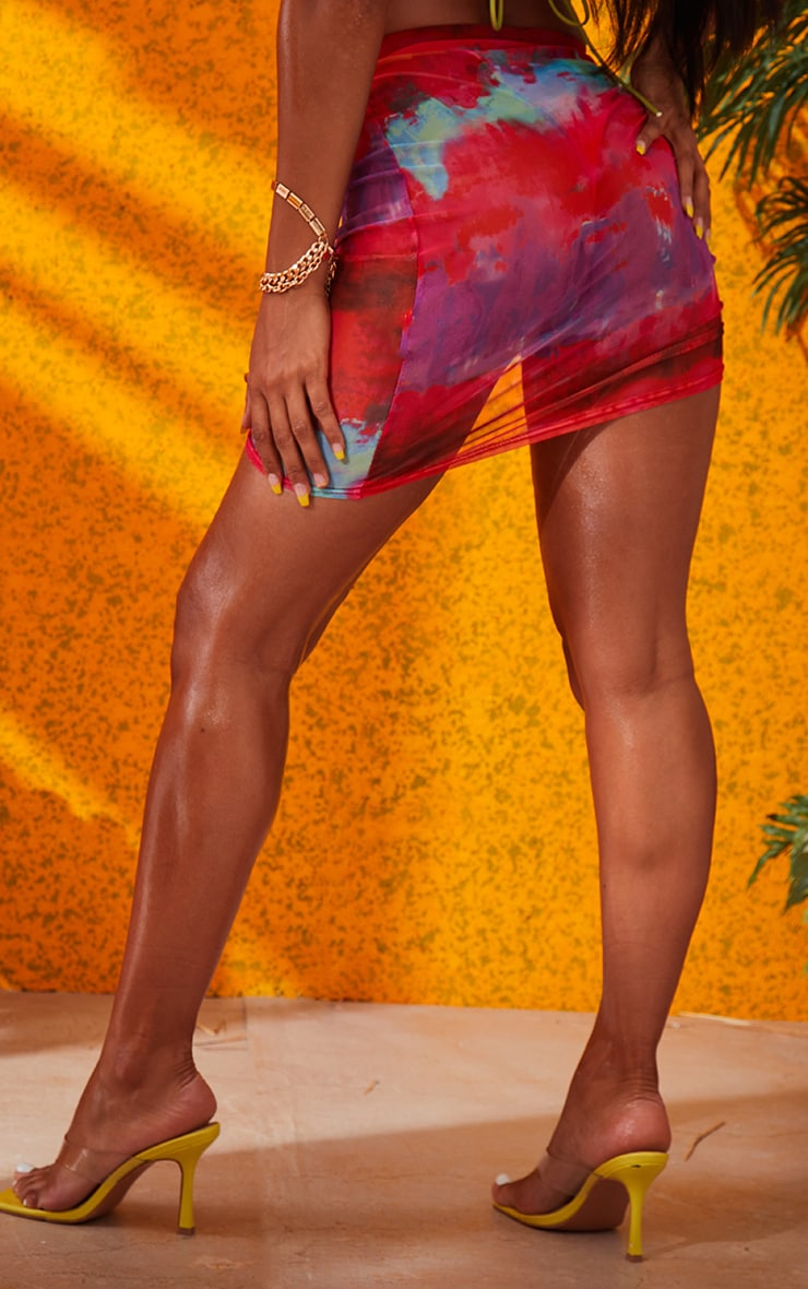 Multi Printed Ruched Mesh Mini Skirt 4