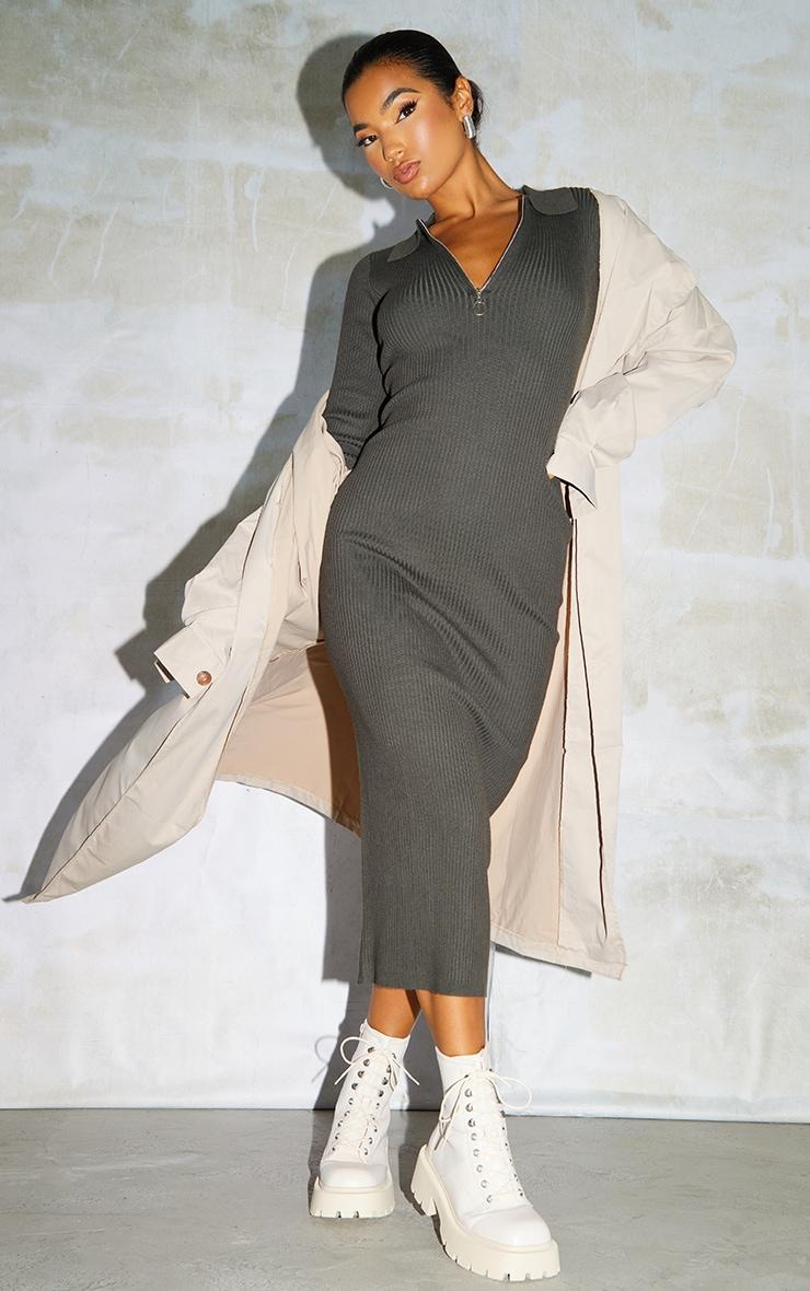Khaki Half Zip Collar Detail Knit Maxi Dress 1