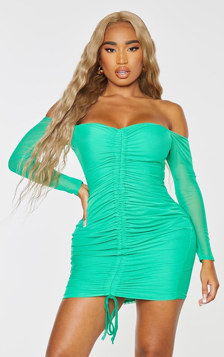 Shape Bright Green Mesh Ruched Bardot Bodycon Dress 1