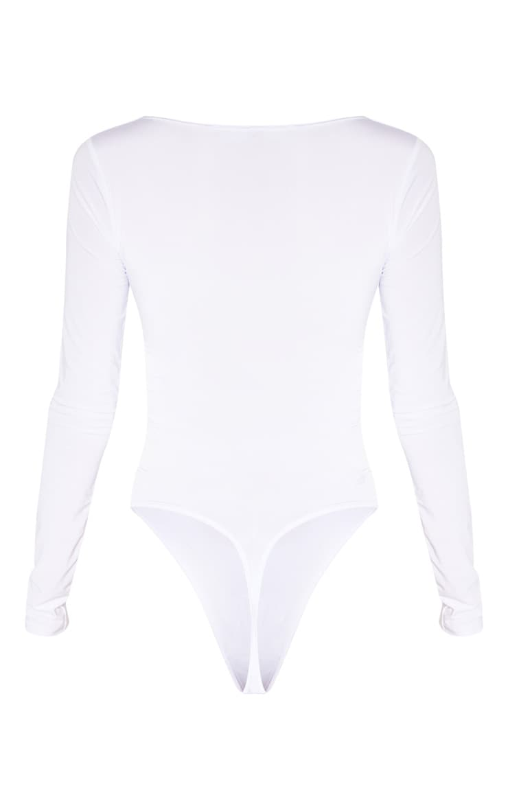 Tall White Slinky Plunge Bodysuit 4