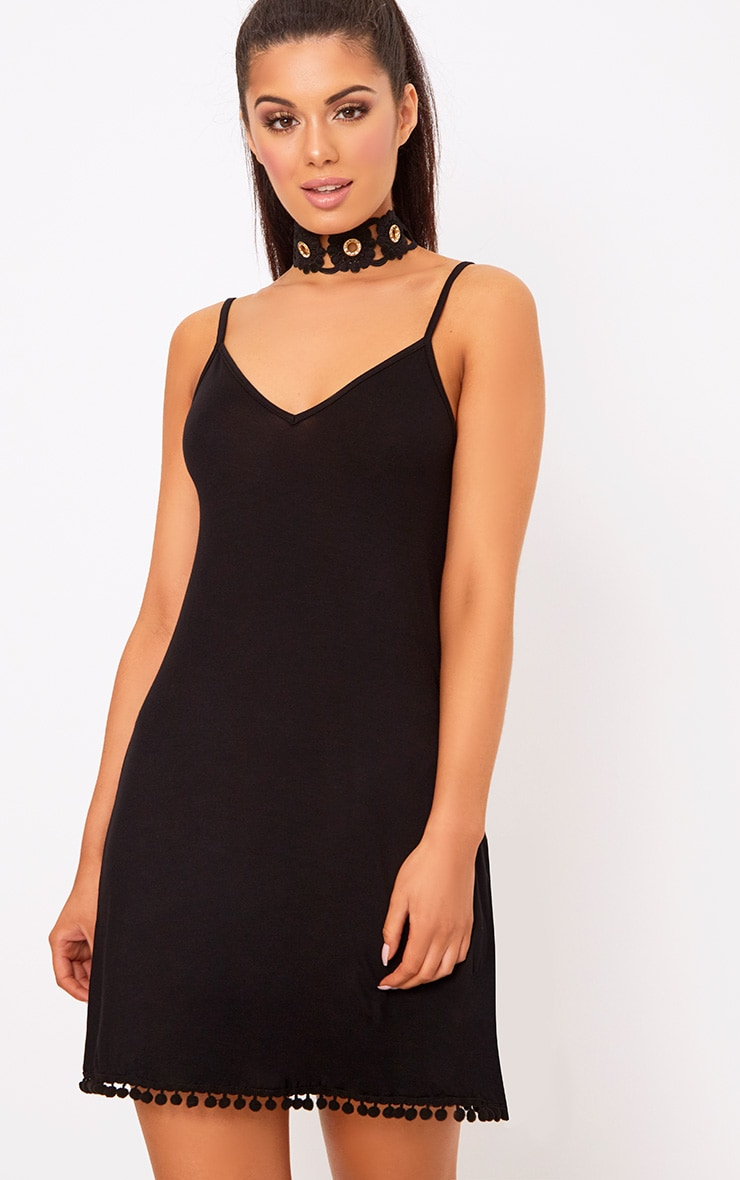 Black Pom Pom Swing Dress 1