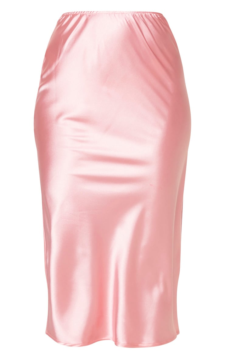 Candy Pink Satin Midi Skirt 5