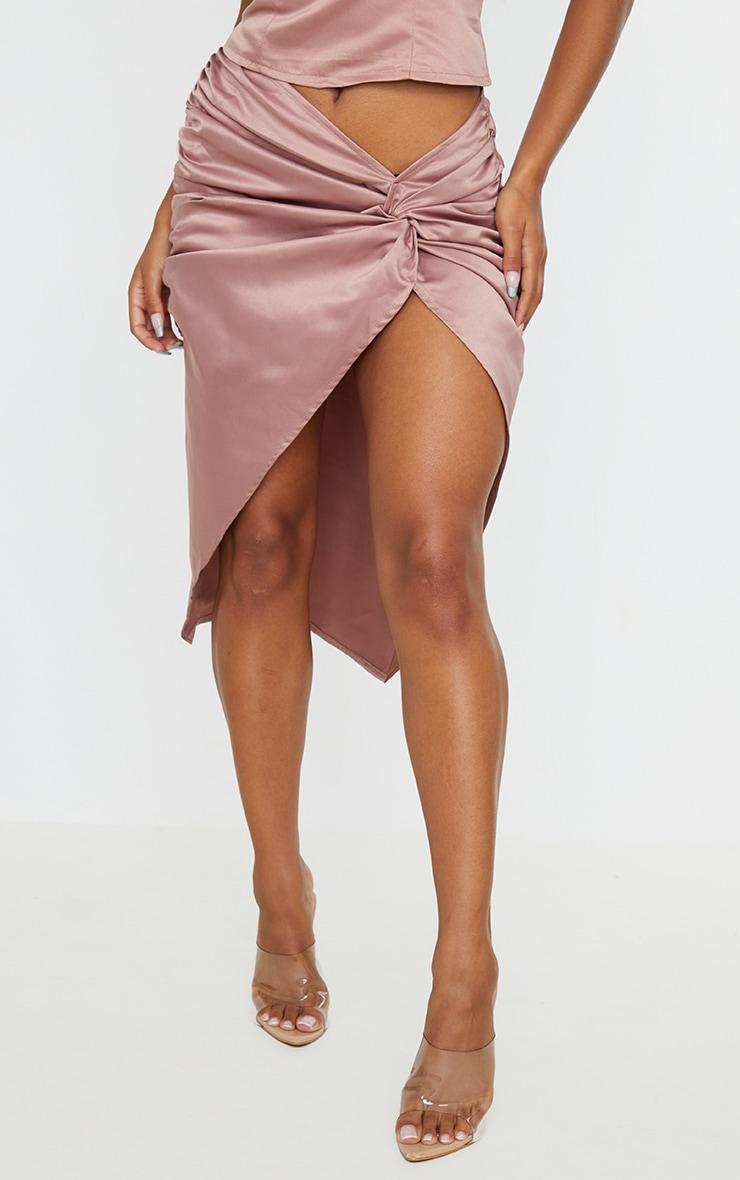 Mocha Satin Twist Front Split Midi Skirt 2