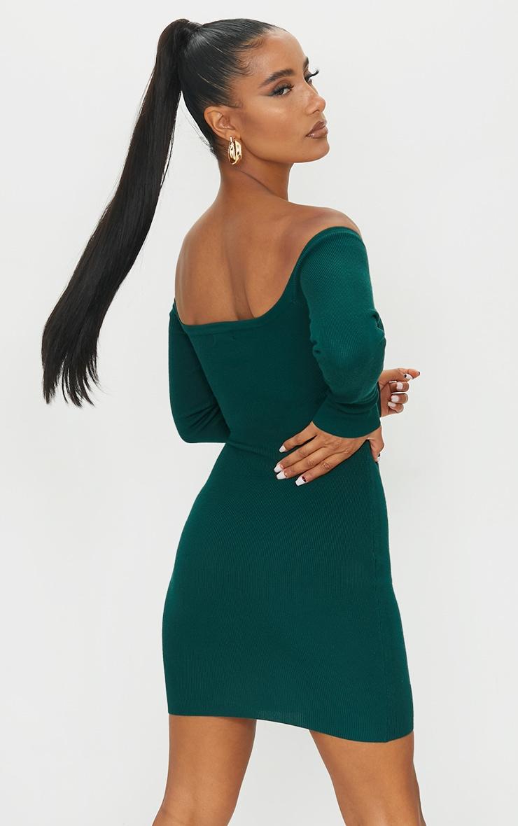 Green Lace Up Bardot Ribbed Knitted Mini Dress 2